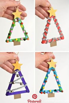 These popsicle stick Christmas trees are so much FUN! They're so easy to mak. - These popsicle stick Christmas trees are so much FUN! They're so easy to mak… Christmas Crafts - Preschool Christmas, Easy Christmas Crafts, Diy Christmas Ornaments, Christmas Kids Decorations, Christmas Tree Pinecones, Christmas Crafts For Kids To Make At School, Childrens Christmas Crafts, Christmas Activities For Toddlers, Popsicle Stick Christmas Crafts