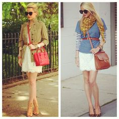 Blair Eadie in her Joie Rori lace dress, styled two different ways. Available in more colors on Joie.com!
