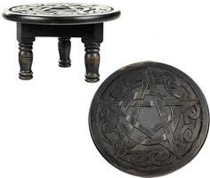 Round Pentagram altar table 12 inches