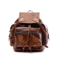 This is a 100 % brown leather backpack with lots of internal zipped pockets. Plenty of room to carry your items. Can carry a 19 inch laptop and has adjustable shoulder straps.Details:-Material: Thick High quality Genuine Leather-Color: Brown-Dimensions:19 inches length x 7.8 inches width x 16 inches height-Weight: 3 pounds-Ships from Sonoma, CA-USA material: leather dimensions: 19 inches (L)*7.8 inches (W)*16 inches(H)
