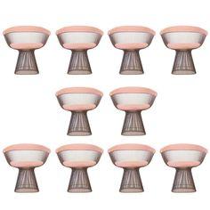 Set of Ten Bronze Warren Platner Dining Chairs 1