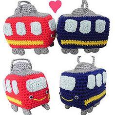 Crocheted Tram's Love (Marlou V) Tags: dog cute animal train toy japanese pig stuffed doll handmade crochet knit craft tram fabric tiny kawaii hunter knitted streetcar amigurumi crocheted boar stitched kawai