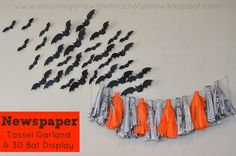 Newpaper Tassel Garland and 3Dhalloween bat display