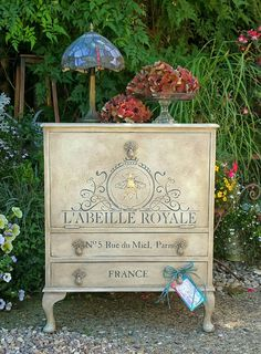 Shabby chic vintage French stencilled cabinet in Annie Sloan paints and waxes,  by Imperfectly Perfect  xx