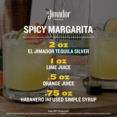 """""""The el Jimador Spicy Margarita."""" Your answer for when your friends ask about the marg you just made them. Swipe for the recipe. Party Drinks, Fun Drinks, Yummy Drinks, Beverages, Yummy Food, Summer Cocktails, Cocktail Drinks, Cocktail Recipes, Tequila"""
