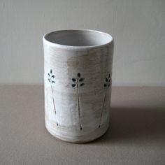 Stoneware Vase, White Glaze with Floral Motif Impression, Hand Thrown Pottery