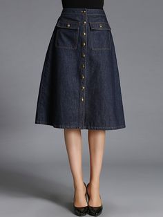 Shop Midi Skirts - Blue Washed Plain Simple Midi Skirt online. Discover unique designers fashion at StyleWe.com.