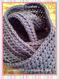 Made this scarf in blue Dec. 2014. Didn't make it into a cowl because I prefer regular or infinity scarves better.  Would make a good bit longer next time.   Julie's Lifestyle: Crocheted Infinity Scarf & Pattern