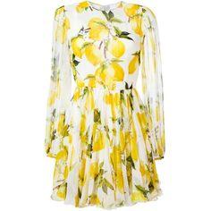 Dolce & Gabbana lemon print dress ($2,875) ❤ liked on Polyvore featuring dresses, white, white pleated dress, long dresses, sheer sleeve dress, short dresses and long pleated dress