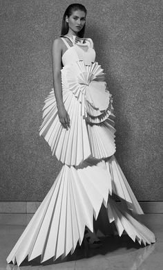 Pleated Paper Dress with 3D silhouette - sculptural fashion; paper couture; wearable art // Louise Goldin