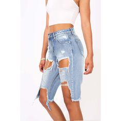 Riptide Ripped Bermuda-Jeansshorts - My kinda outfits - Shorts Long Jean Shorts, Ripped Jean Shorts, Denim Shorts, Summer Shorts Outfits, Short Outfits, Summer Clothes, Denim Fashion, Fashion Outfits, Fashion Clothes