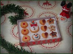 1:12 miniature christmas cookies in a box for your by sashasstore