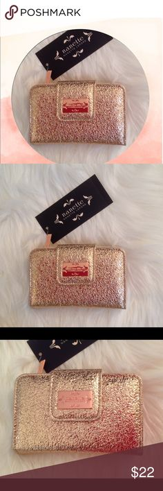 """Nanette Lepore Rose Gold French Purse, NWT Nanette Lepore PVC French Purse in Rose Gold Foil.  Gorgeous and brand NWT.  Length is 5 1/2 inches;  width is :  4"""".  Original price:  $34.00. Nanette Lepore Bags Wallets"""