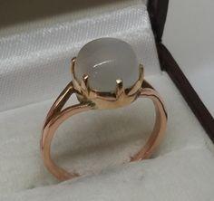 Vintage Ringe - Goldring 585 Rotgold Mondstein Vintage alt GR196 - ein Designerstück von Atelier-Regina bei DaWanda