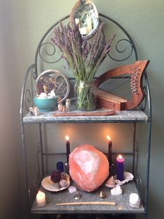"""rainy-day-witchcraft: """"New altar setup! I'm so delighted to finally have a bundle of lavender, and I wanted to show off my Celtic harp instead of keeping it hidden on the ground;"""