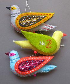 Turtle Dove PDF pattern a hand sewn wool felt by mmmcrafts on Etsy. 12 Days of Christmas Felt Ornaments.
