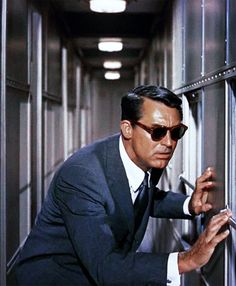 "Cary Grant in (""North by Northwest"") in 1959. Directed Alfred Hitchcock, produced by Herbert Coleman. Cary played Roger Thornhill."
