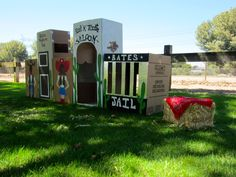 Cowboy 1st birthday: The parents of the lil Buckaroo handcrafted this amazing town out of cardboard boxes! It was a party hit! Great photo opp and fun to play in!