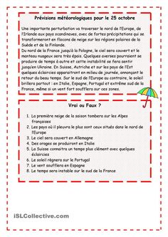les previsions meteorologiques pg 2 Weather Calendar, French Worksheets, Vocabulary Instruction, Reading Stories, French Language Learning, Teaching French, Learn French, Comprehension, Book Lovers
