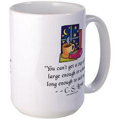 Tea & Books w Quote Large Mug on CafePress.com