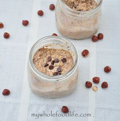 Nutella Overnight Oats.  Super easy overnight oats that have a bit of homemade Nuella in them.  It's so good and like having dessert for breakfast.  Seriously the easiest breakfast you will ever make!  Vegan and gluten free.