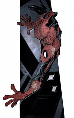 Spider-Man /// by John Timms - LOVE that Spider-Man is crawling out of the art!