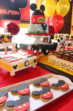 Mickey Mouse baptism party cookies! See more party ideas at CatchMyParty.com!