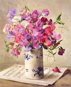 Anne Cotterill (British, Anne Cotterill-beautiful floral painting of sweet peas - amazing! Watercolor Flowers, Watercolor Paintings, Original Paintings, Floral Paintings, Watercolour, Arte Floral, Flower Art, Flower Power, Amazing Art