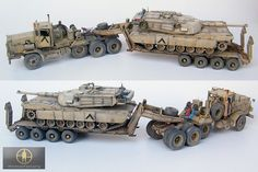 Desert Storm tank transporter M911 C-HET, M747 trailer (Minimanfactory resin), and old Dragon M1A1 Abrams.