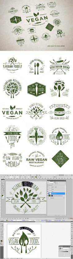 15 Vegetarian Foods Badges by gurita_hitam on Creative Market