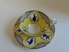 Rare Aynsley Art Deco Cameo Yellow & Black Tea Cup and Saucer in Pottery & Glass, Pottery & China, China & Dinnerware | eBay