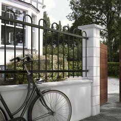 Clôture fer barreau arrondi - CASTORAMA Facade, Outdoor Structures, Inspiration, Gardens, Grey Houses, Rounding, Garden Deco, Biblical Inspiration, Facades