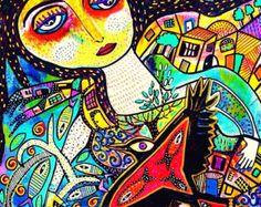 Items similar to Angels And Goddesses** - SILBERZWEIG ORIGINAL Art PRINT- Frida, Mexican, Folk, Modern, Lovebird, Stars, Wine, Skulls, Flowers, Hearts, Fish, on Etsy