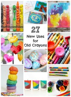 Doesn't every household have a ton of broken old crayons lying around in their craft rooms, drawers, buckets, boxes? I'm always wondering what to do with those little guys. If you've been wondering too, then this post is for you! I've rounded up 27 NEW uses for OLD broken crayons! You're gonna love these ideas!