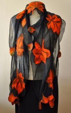 Items similar to Scarf on Etsy Nuno Felting, Needle Felting, Felt Cover, Fabric Art, Wool Felt, Jeans, Ruffle Blouse, Trending Outfits, Creative