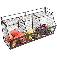 Amazon.com - Large Rustic Brown Metal Wire Wall Mounted Hanging Fruit Basket Storage Organizer Bin w/ Chalkboards -