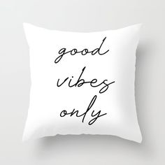 good vibes only Throw Pillow by typutopia - Cover x with pillow insert - Indoor Pillow Cute Bedroom Decor, Cute Bedroom Ideas, Teen Room Decor, Room Ideas Bedroom, Dream Bedroom, White Throw Pillows, Green Pillows, Cute Pillows, Bed Pillows