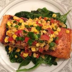 Made this for dinner tonight. It was a winner!     Grilled Salmon with Bacon and Corn Relish Allrecipes.com