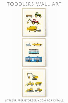 Perfect for truck loving toddlers rooms, these hand designed vehicle prints look amazing on kids walls. Written below each image is a fact or figure about each vehicle. Toddler Boy Room Decor, Toddler Rooms, Boys Room Decor, Playroom Decor, Kids Rooms, Room Boys, Wall Decor, Nursery Prints, Nursery Wall Art