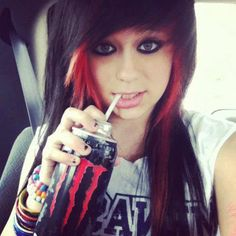 cute scene girl with monster energy drink what!!!!