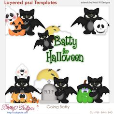Going Batty for Halloween Layered Element Templates,ghost, cu, commercial use, scrap, scrapbooking, clipart
