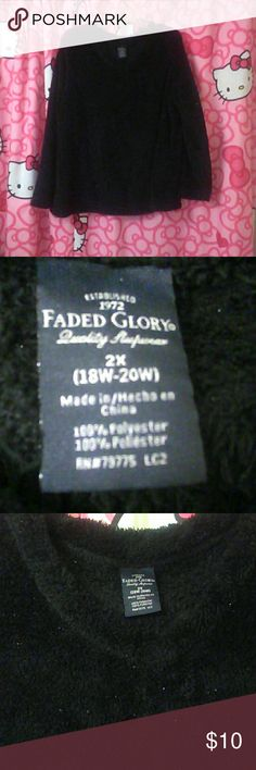 NWOT---Black Hint of Sparkle Sweater NWOT---Faded Glory brand. Size 18W/20W. NEVER worn.  Christmas gift from my awesome Mom.  Cute,  just not my style.  Plus, she didn't remember that I was there when she received it Christmas 2015, smh (made me not wear it even more,  lol). Even worse,  this item is NOT photogenic AT ALL.  Black chenille-like (kinda fleecy) fuzzy v-neck sweater.  Long sleeve. Has gold threads throughout that subtly sparkle, glimmer, reflect & play with surrounding light…