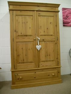 VERY WIDE QUALITY SOLID PINE DOUBLE WARDROBE WITH LARGE DRAWER **CAN DELIVER** - W 124 - D 58 - H 193 - CM - £295 http://www.drabtofabfurniture.co.uk/non-painted-furniture/
