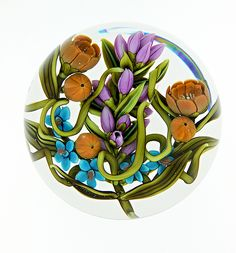 """""""Late Summer Floral Bouquet""""  Art Glass Paperweight created by Clinton Smith on Artful Home"""
