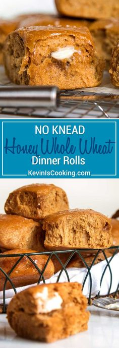 Light and airy No Knead Honey Whole Wheat Dinner Rolls. No mixer required and the honey and wheat flavor is a nice change from the regular white bread roll. Real Food Recipes, Cooking Recipes, Bread Recipes, Cooking Rice, Cooking Bacon, Whole Wheat Rolls, Wow Recipe, Dinner Rolls Recipe, Bread Rolls