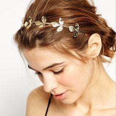 Classic Gold Leaves Wedding Bride Hair Headband
