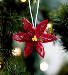 Weihnachtsstern Ornament  Christbaumkugel  Papier Ornament