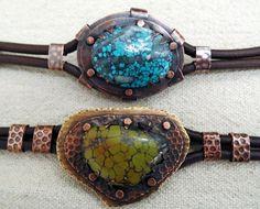 St Jean Kim Leather and Stone Bracelet
