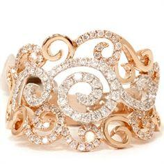 VS .58CT 18K Rose Gold Vintage Handmade Unique Diamond Ring Filigree Antique 6.5 - $1699