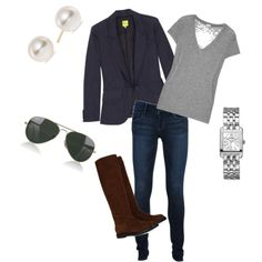 preppy and classic outfit.  #blazer #boots #skinnyjeans